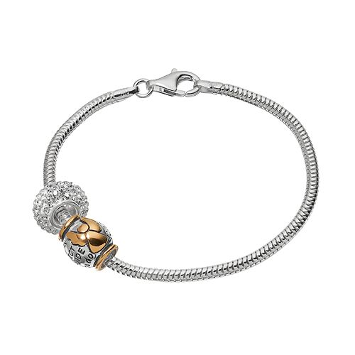 """Individuality Beads Crystal Sterling Silver & 14k Gold Over Silver Snake Chain Bracelet & """"Guardian Angel"""" Bead Set"""
