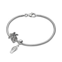 Individuality Beads Sterling Silver Snake Chain Bracelet, Palm Tree Bead & Flip-Flop Charm Set