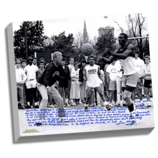 "Steiner Sports Notre Dame Fighting Irish Lou Holtz Basketball vs. Tim Brown Facsimile 22"" x 26"" Stretched Story Canvas"