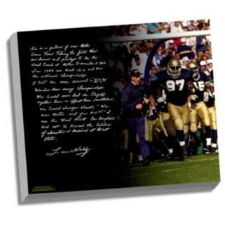 """Steiner Sports Notre Dame Fighting Irish Lou Holtz College Football Playoffs Facsimile 22"""" x 26"""" Stretched Story Canvas"""
