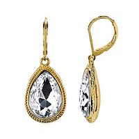 1928 Faceted Stone Teardrop Earrings