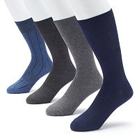 Men's Croft & Barrow 4-pack Opticool Textured Dress Crew Socks