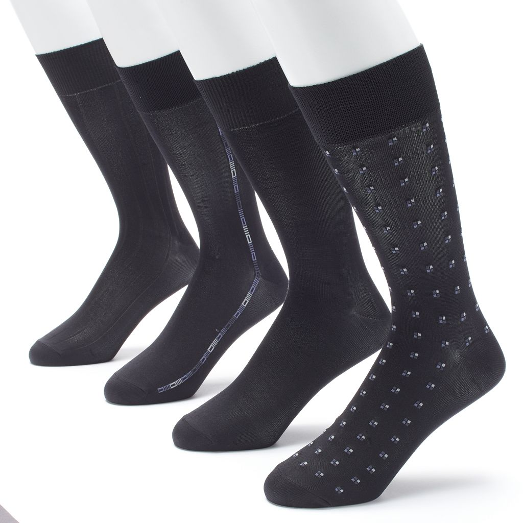 Men's Croft & Barrow 4-pack Patterned Microfiber Fashion Clocking Dress Socks