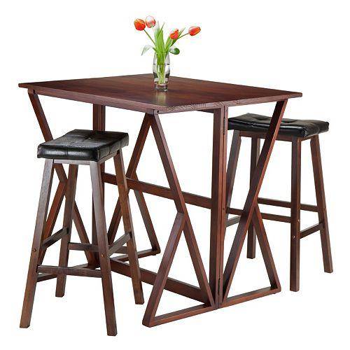 Winsome 3-piece Harrington Table & Faux-Leather Top Stool Set