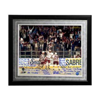 "Steiner Sports New York Rangers Stephane Matteau 1994 Game 7 Game-Winning Goal Commentary Facsimile 16"" x 20"" Framed Metallic Story Photo"