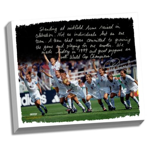 Steiner Sports Mia Hamm Winning 1999 FIFA World Cup Facsimile 22″ x 26″ Stretched Story Canvas