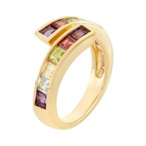 Gemstone 18k Gold Over Silver Bypass Ring