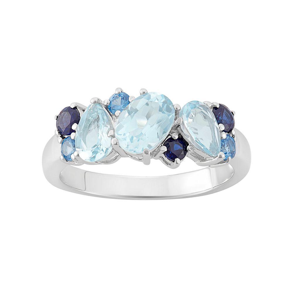 Blue Topaz Sterling Silver Cluster Ring