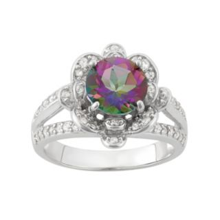 Mystic Topaz & Lab-Created White Sapphire Sterling Silver Flower Ring