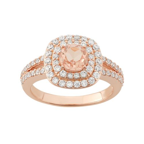 Peach Quartz Doublet & Cubic Zirconia 18k Rose Gold Over Silver Halo Ring