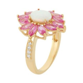 Lab-Created Opal, Lab-Created Pink Sapphire & Lab-Created White Sapphire 18k Gold Over Silver Flower Ring
