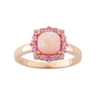 Lab-Created Pink Opal & Lab-Created Pink Sapphire 18k Rose Gold Over Silver Square Halo Ring