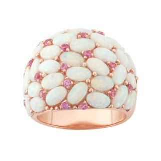 Lab-Created Opal & Lab-Created Pink Sapphire Dome Ring