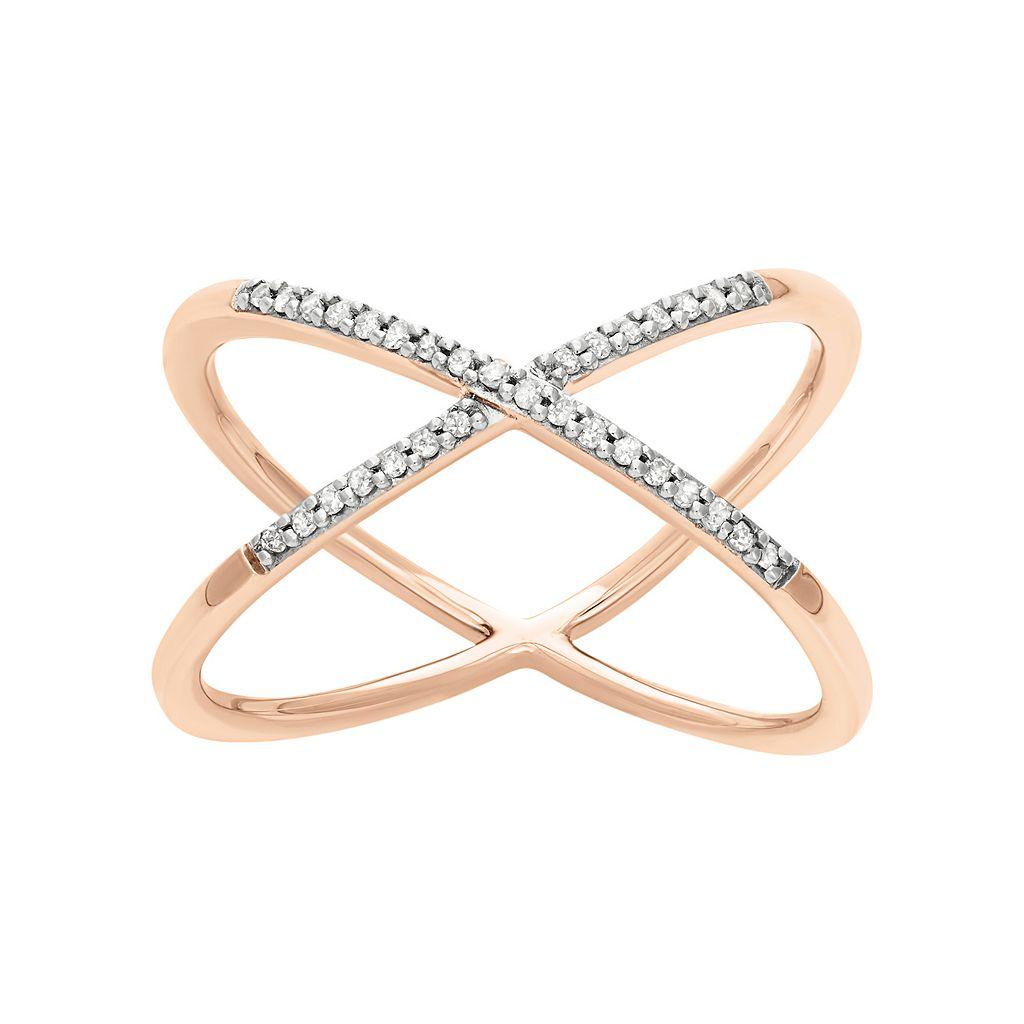 1/10 Carat T.W. Diamond 14k Gold-Bonded Sterling Silver X Ring