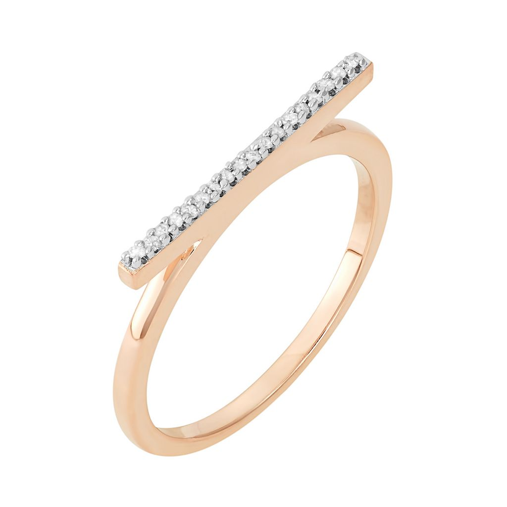 Diamond Accent 14k Gold-Bonded Sterling Silver Bar Ring