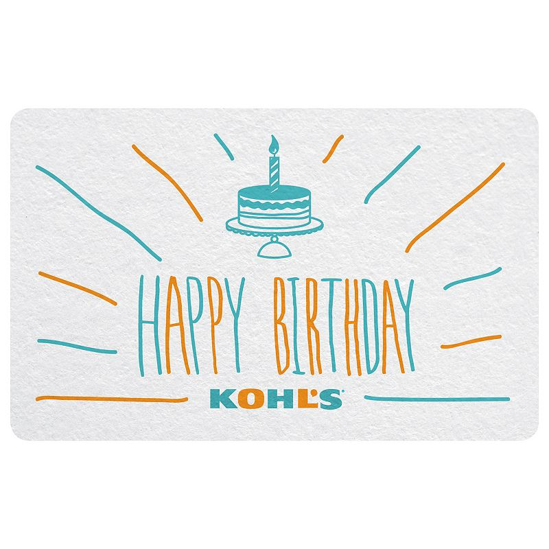 Happy Birthday Cake Gift Card, Multicolor This birthday Kohl's Gift Card* will be the icing on the cake.To make a purchase with the card, just visit any Kohl's Department Store and present your card at the time of purchase. Or, use the card as payment during online checkout at Kohls.com. It works the same as cash, and the remaining balance stays on the card until it's used up. Discounts not available on gift cards. *This card is redeemable for merchandise at any Kohl's store or online at Kohls.com. This card is issued by and represents an obligation of Kohl's Value Services, Inc. Except where required by law, this card is non-refundable, may not be redeemed for cash or for the purchase of Gift Cards and cannot be applied to any Kohl's Charge account balance. This card has no expiration date. The unused value of lost, stolen or damaged cards can be replaced with required proof of purchase. See store for details. Receipts for purchases made with this card will show the remaining card balance. Card balance may also be obtained from a Kohl's Sales Associate, calling 1-800-655-0554 or online at Kohls.com Do not mail cards to the Kohl's Payment Center. 11/10 Size: $20. Color: Multicolor.
