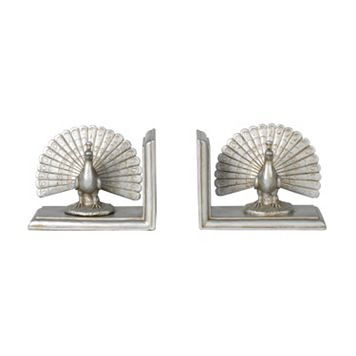 Elements Peacock Book Ends 2-piece Set
