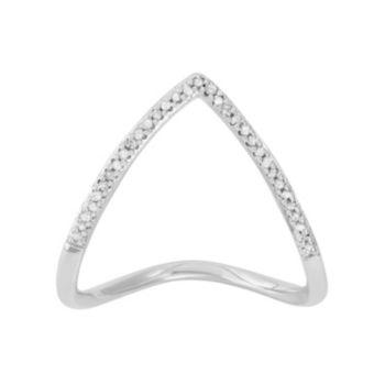 1/10 Carat T.W. Diamond Sterling Silver Chevron Ring