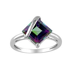 Stella Grace Exotic Green Topaz 10k White Gold Ring
