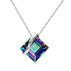 Exotic Green Topaz 10k White Gold Pendant Necklace by