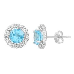 Lab-Created Blue Topaz & White Topaz 10k White Gold Halo Stud Earrings