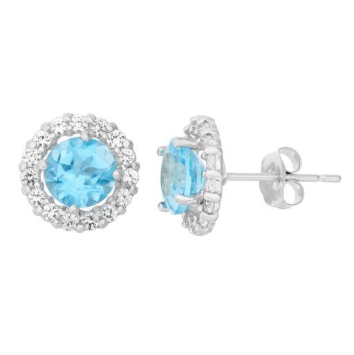 Lab-Created Blue Topaz & White Topaz 10k White Gold Halo Stud Earrings