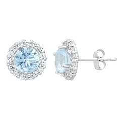 Aquamarine & White Topaz 10k White Gold Halo Stud Earrings