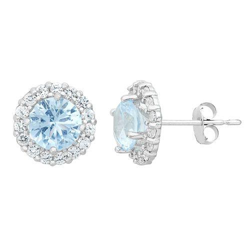 Aquamarine & White Topaz 10k White Gold Halo Stud Earrings