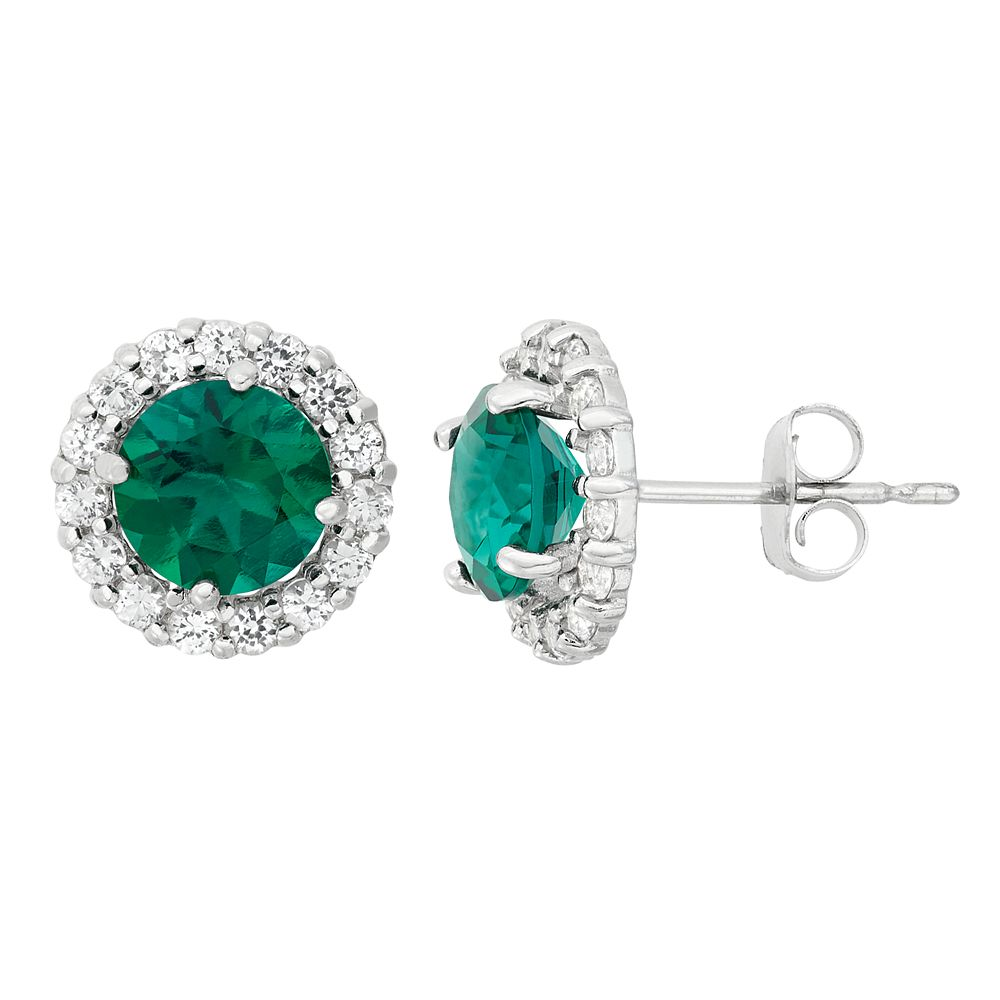Lab-Created Emerald & White Topaz 10k White Gold Halo Stud Earrings