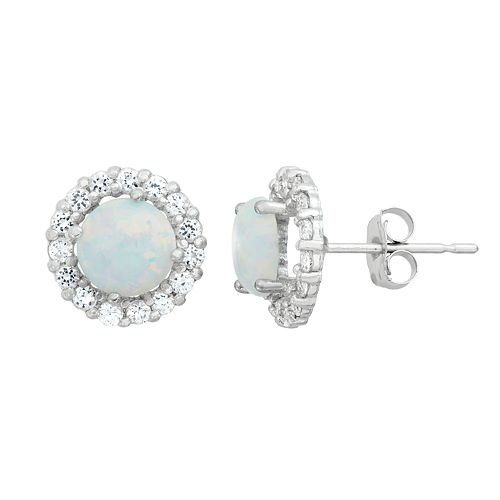 Lab-Created Opal & White Topaz 10k White Gold Halo Stud Earrings