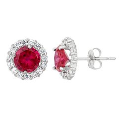 Lab Created Ruby White Topaz 10k Gold Halo Stud Earrings