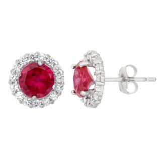 Lab-Created Ruby & White Topaz 10k White Gold Halo Stud Earrings