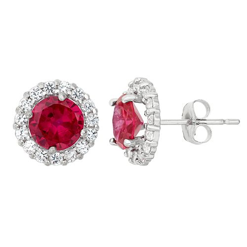Lab-Created Ruby & White Topaz 10k White Gold Halo Stud Earrings