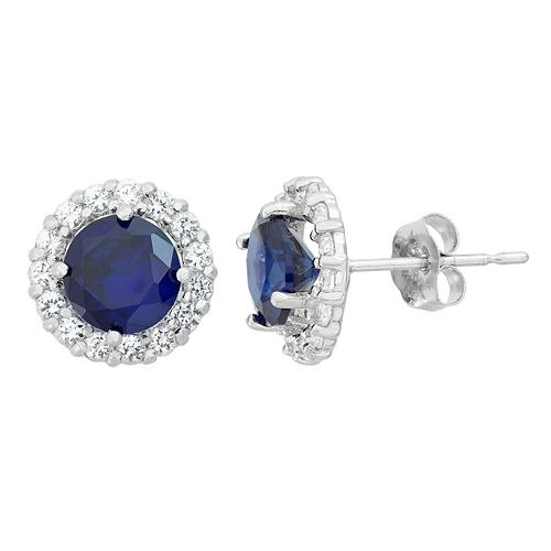 Lab-Created Sapphire & White Topaz 10k White Gold Halo Stud Earrings