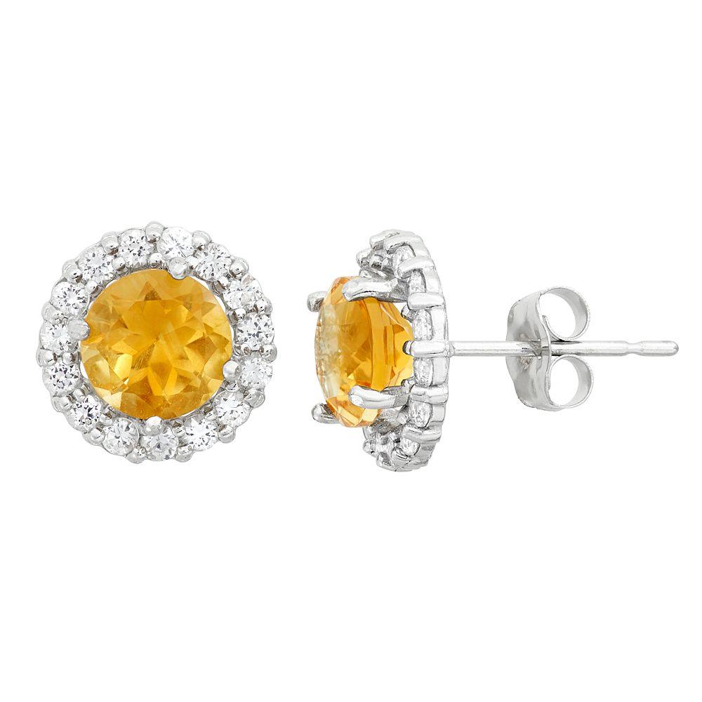 Lab-Created Citrine & White Topaz 10k White Gold Halo Stud Earrings