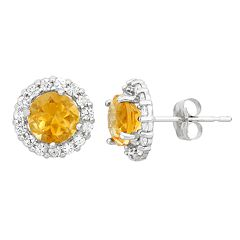Lab-Created Citrine & White Topaz 10k White Gold Halo Stud Earrings