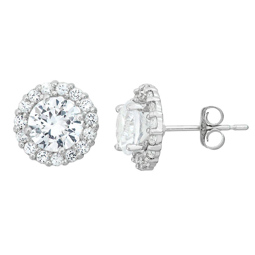 Lab-Created White Sapphire & White Topaz 10k White Gold Halo Stud Earrings