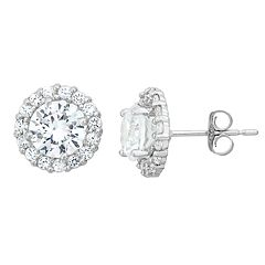 Lab-Created White Sapphire & White Topaz 10k White Gold Halo Stud Earrings