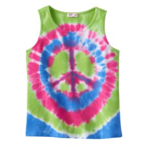 Design 365 Tie-Dye Peace Sign Tank - Girls 4-6x
