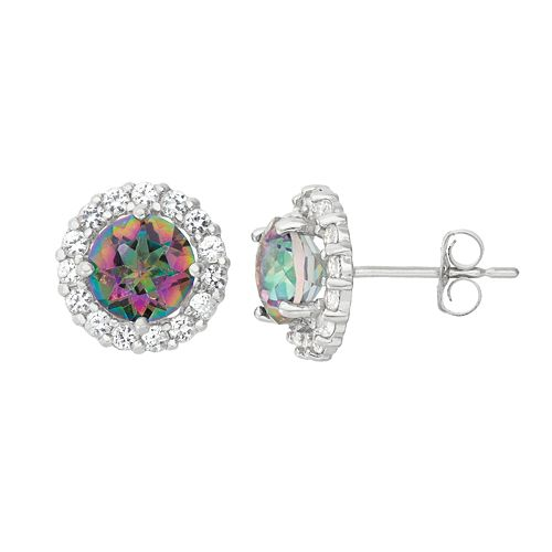 Mystic Topaz & White Topaz 10k White Gold Halo Stud Earrings