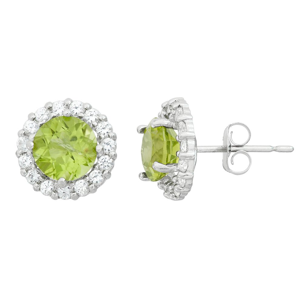 Peridot & White Topaz 10k White Gold Halo Stud Earrings