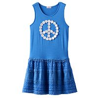Design 365 Flower Peace Sign Tiered Dress - Toddler Girl