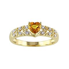 Stella Grace Yellow Sapphire & Diamond Accent 10k Gold Heart Ring