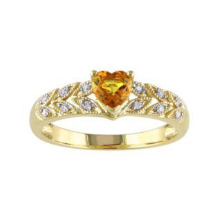 Yellow Sapphire & Diamond Accent 10k Gold Heart Ring