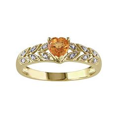 Orange Sapphire & Diamond Accent 10k Gold Heart Ring