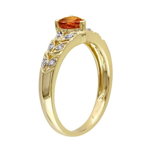 Stella Grace Orange Sapphire & Diamond Accent 10k Gold Heart Ring