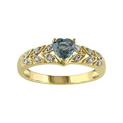 Stella Grace Green Sapphire & Diamond Accent 10k Gold Heart Ring