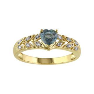 Green Sapphire & Diamond Accent 10k Gold Heart Ring