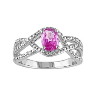 Stella Grace Pink Sapphire & 1/6 Carat T.W. Diamond 10k White Gold Openwork Twist Ring