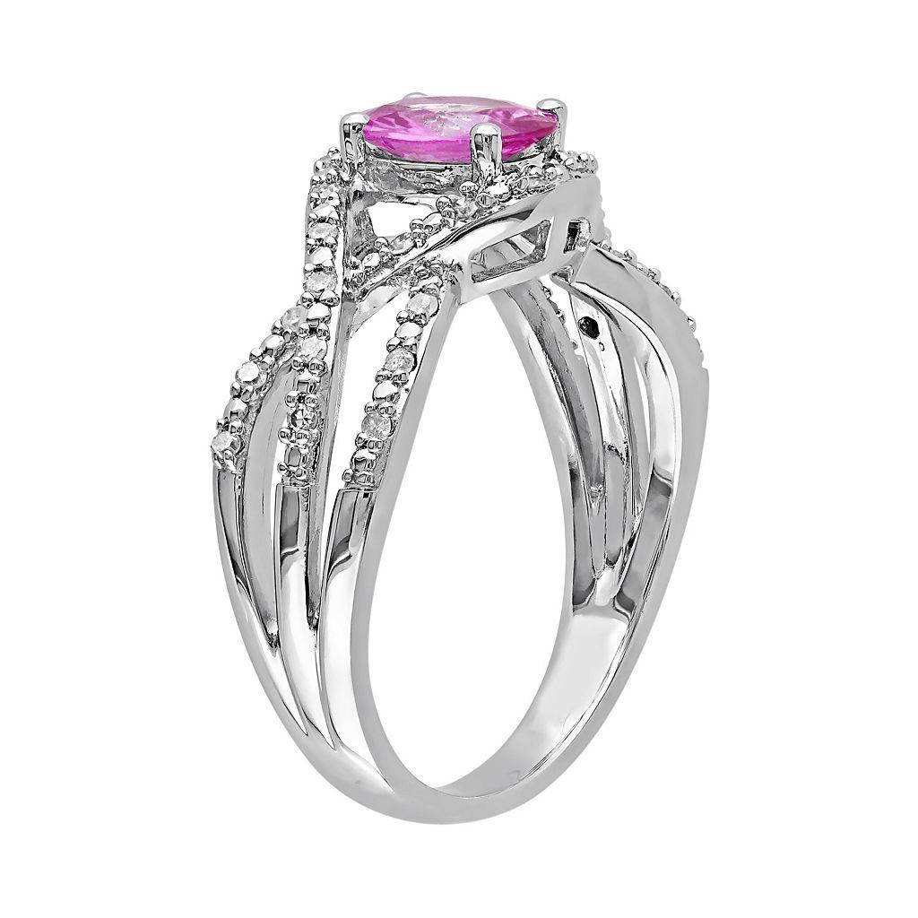 Pink Sapphire & 1/6 Carat T.W. Diamond 10k White Gold Openwork Twist Ring